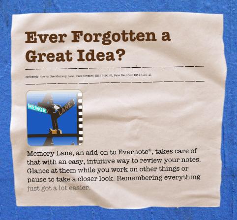 Memory Lane Mac Application for Evernote | Kanda Software